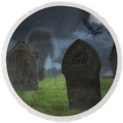 Halloween Graveyard Round Beach Towel