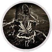 Halloween Green Skeleton Vinette Black And White Round Beach Towel