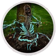 Halloween Green Skeleton Vinette Round Beach Towel