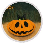 Halloween Kitty Boo Round Beach Towel