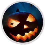 Halloween Pumpkin And Spiders Round Beach Towel