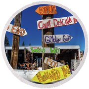 Halloween Signs Pionting In Various Round Beach Towel