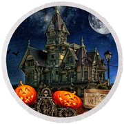 Halloween Spot Round Beach Towel by Mo T