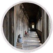 Hallway At Angkor Wat Round Beach Towel
