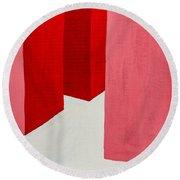 Hallway Red Round Beach Towel