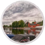 Halmstad Castle 01 Round Beach Towel