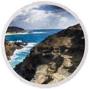 Halona Blowhole Lookout- Oahu Hawaii V2 Round Beach Towel