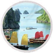 Halong Bay Sails 01 Round Beach Towel