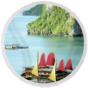 Halong Bay Sails 02 Round Beach Towel