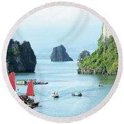 Halong Bay Sails 03 Round Beach Towel