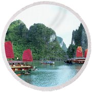 Halong Bay Sails 04 Round Beach Towel