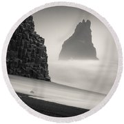 Halsenifs Hellir Sea Stack Round Beach Towel