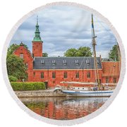 Halstad Castle 03 Round Beach Towel