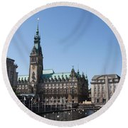 Hamburg - City Hall With Fleet - Germany Round Beach Towel