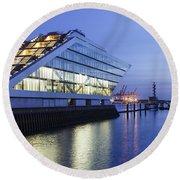 Hamburg Dockland At Night Round Beach Towel