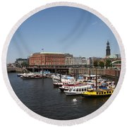 Hamburg Port With Fleet  Round Beach Towel