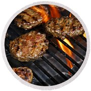 Hamburgers On Barbeque Round Beach Towel