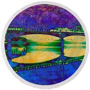 Hamilton Ohio City Art 6 Round Beach Towel