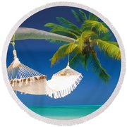 Hammock Palm And Ocean Round Beach Towel