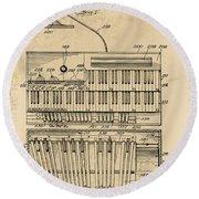 Hammond Organ Patent Round Beach Towel