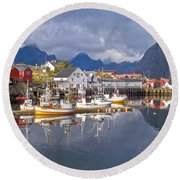 Hamnoy Fishing Village On Lofoten Islands Round Beach Towel