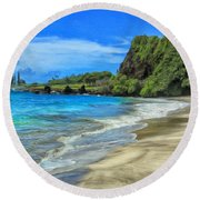 Hamoa Beach At Hana Maui Round Beach Towel