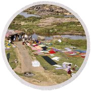 Hampi Bathing Ghats Round Beach Towel