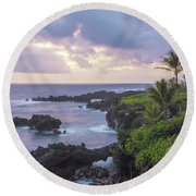 Hana Arches Sunrise 3 - Maui Hawaii Round Beach Towel