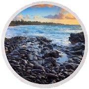 Hana Bay Sunrise Round Beach Towel by Inge Johnsson