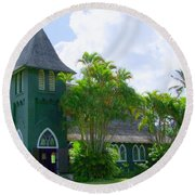 Hanalei Church Round Beach Towel