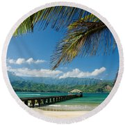 Hanalei Pier And Beach Round Beach Towel