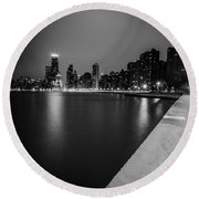 Hancock Building Reflection With Sidewalk - Black And White  Round Beach Towel