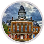 Before It Burned Hancock County Courthouse Art Round Beach Towel