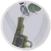 Hand Gun And Flower X-ray Series 1 Round Beach Towel