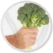 Hand Holding Broccoli Round Beach Towel