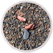 Hand In Gravel Round Beach Towel by Stephan Pietzko
