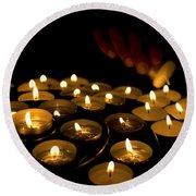 Hand Lighting Candles Round Beach Towel