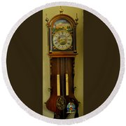 Hand Painted Clockwith Chimes Round Beach Towel