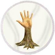 Hand Tree Round Beach Towel