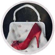 Handbag With Stiletto Round Beach Towel by Joana Kruse