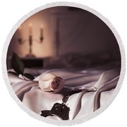 Handcuffs And A Rose On Bed Round Beach Towel