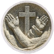 Hands And The Cross Round Beach Towel