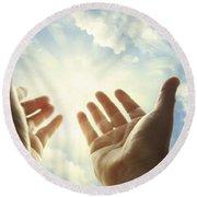 Hands In Sky Round Beach Towel