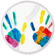 Hands Painted Stamped On Paper Round Beach Towel