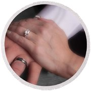 Hands With Wedding Rings Round Beach Towel