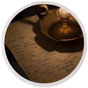 Handwritten Letter By Candle Light Round Beach Towel