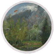 Hang Gliders At Chamonix, 2007 Oil On Canvas Round Beach Towel