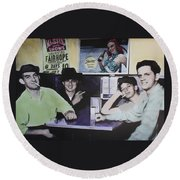 Hanging At The Diner 1949 Round Beach Towel