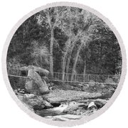 Hanging Bridge In Black And White Round Beach Towel