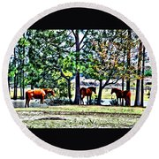 Hanging By The Pond Round Beach Towel